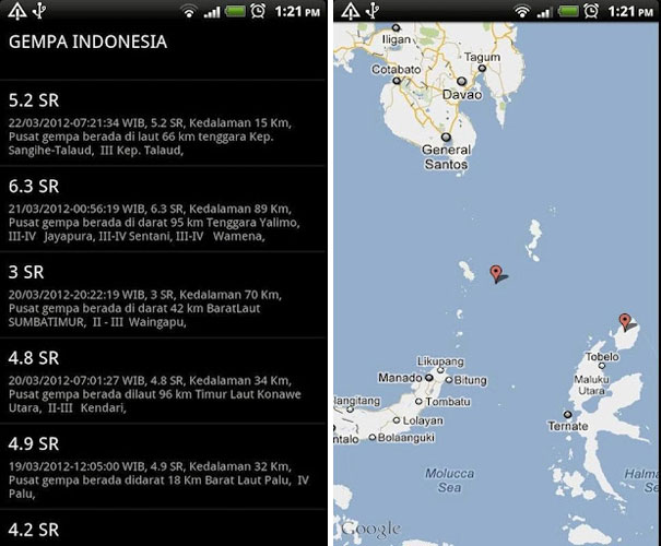 Gempa Indonesia on Android Google Play