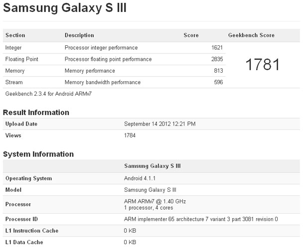 GeekBench Samsung Galaxy S3 with Android 4.1 Jelly Bean via GadgetGaul.com