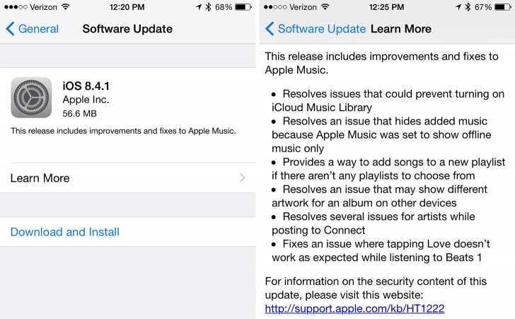 apple ios 8.4.1 update